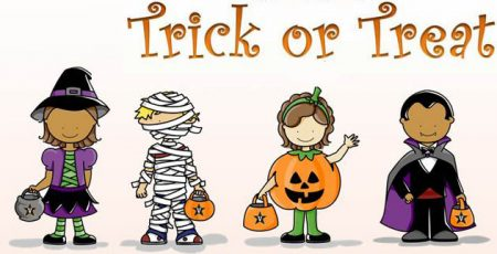 Trick or Treat kids in costume cartoons Mesa Market Swap Meet Halloween Promotion