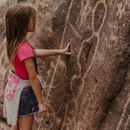 Girl looking at Heiroglypics