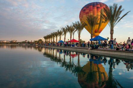 Riverview Park Water Reflection Hot Air Balloon