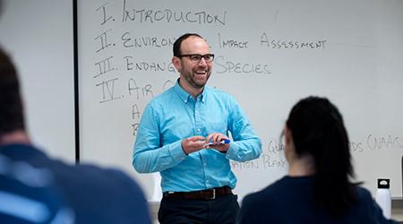 New professor teaching a class