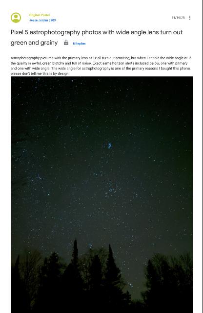 La actualización de la cámara de Google elimina la función de astrofotografía de gran angular de los teléfonos Pixel