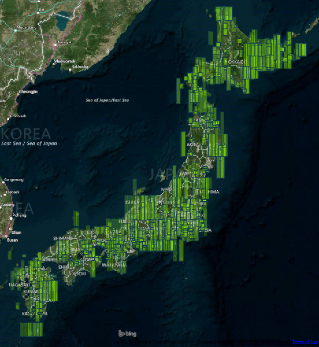 High resolution satellite imagery coverage of Japan