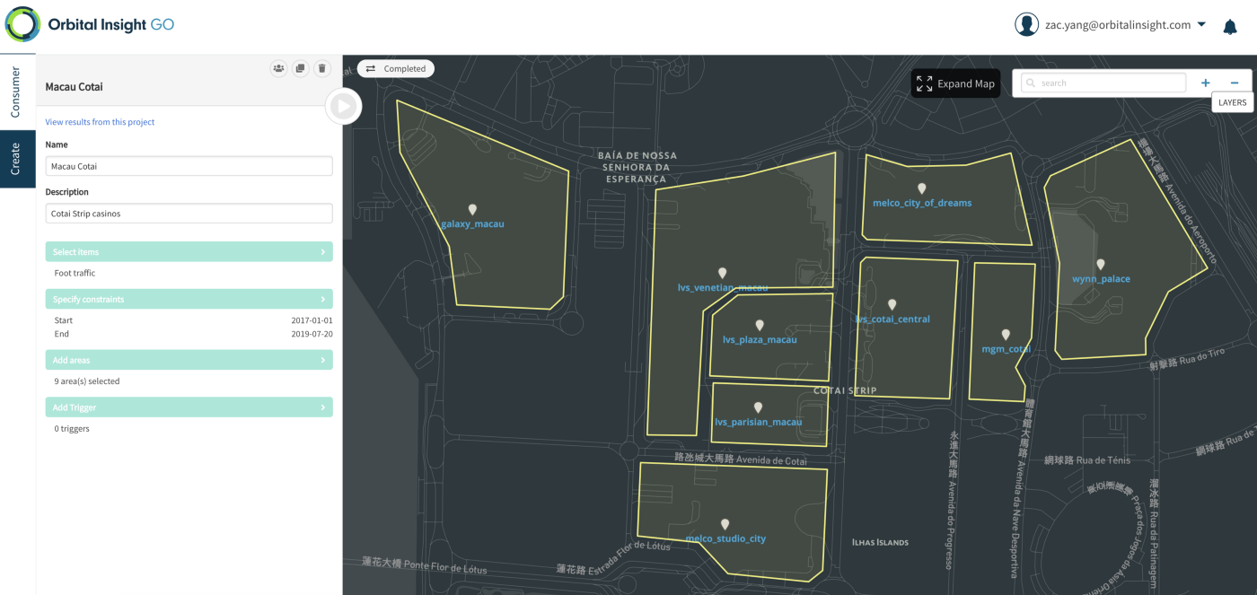 Orbital Insight GO geospatial analytics platform casino map