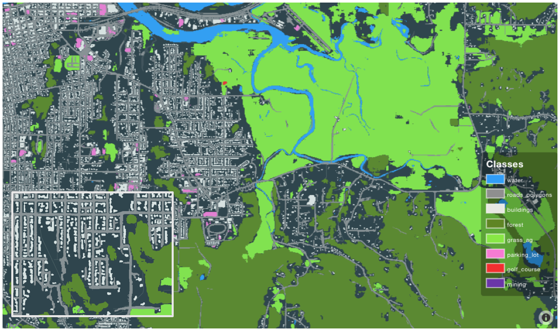 Medium-resolution land use classifier run in Eureka, CA (Apr. 2019). The results are visualized in our GO Explore tool.
