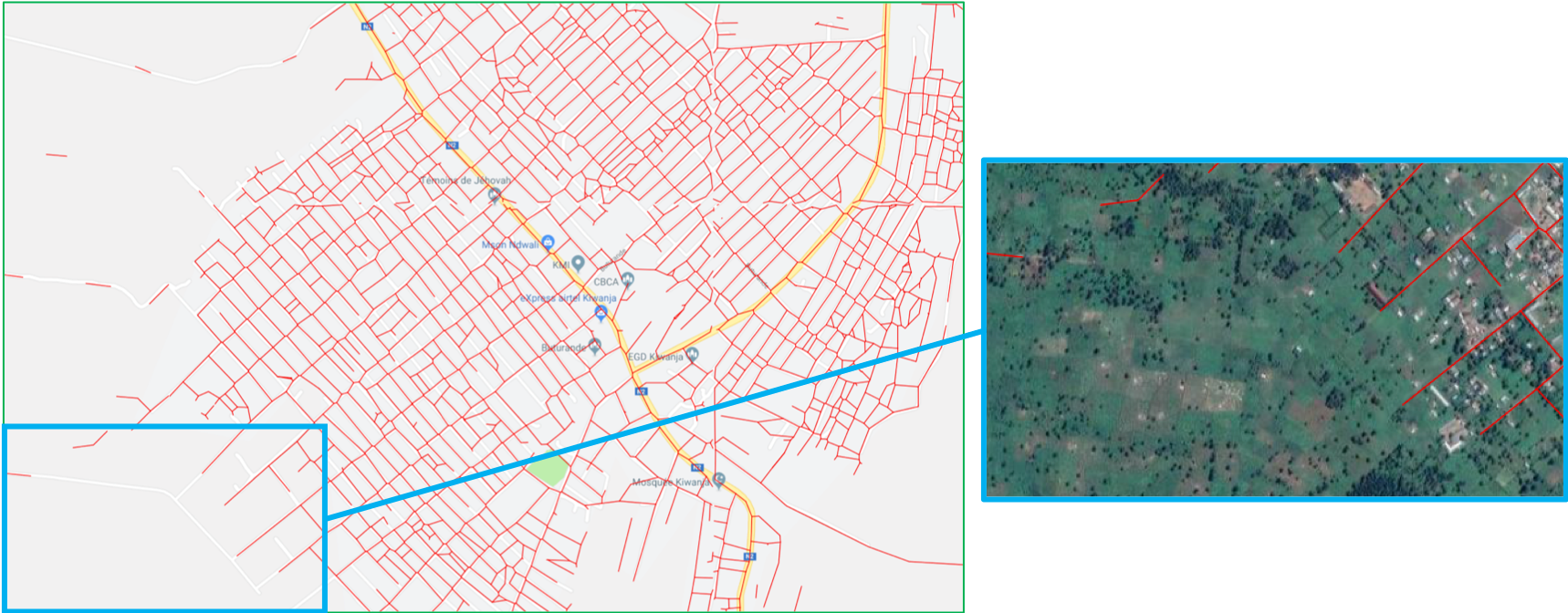 Orbital Insight road lines match OSM