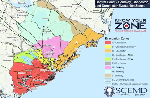 South Carolina State Evacuation Zone Map