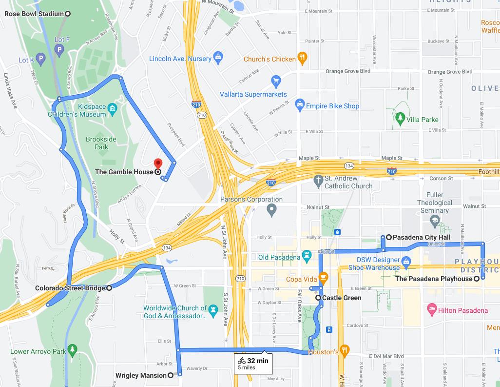Pasadena Landmarks Bike Tour Map