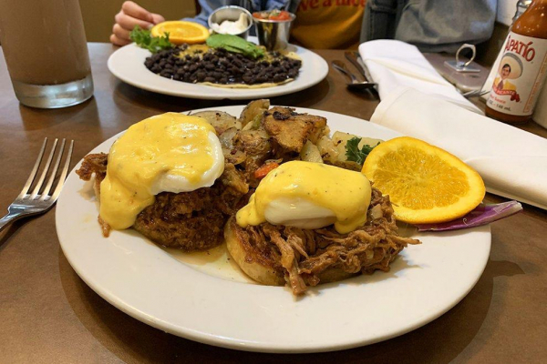 Pulled pork Benny at Marston's, breakfast done right