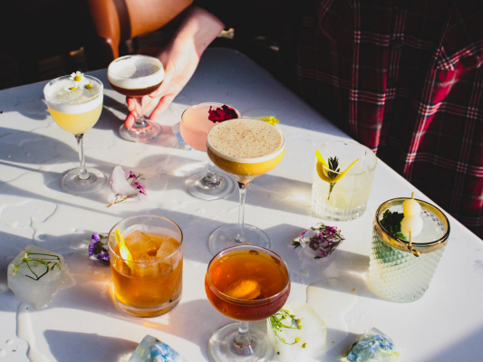 Arrangement of Magnolia House cocktails and mixed drinks