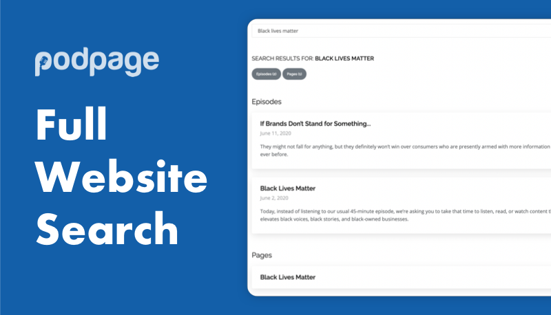 Introducing full search across your podcast website image