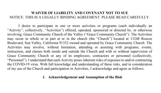Despite Indoor Services, Grace Community Church Doesn't Want to Get Sued if You Get COVID-19 at the Church