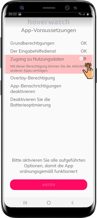 Installieren Sie die Hoverwatch App