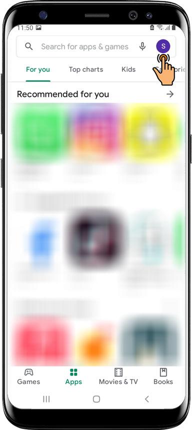 Tap Menu Google Play Store
