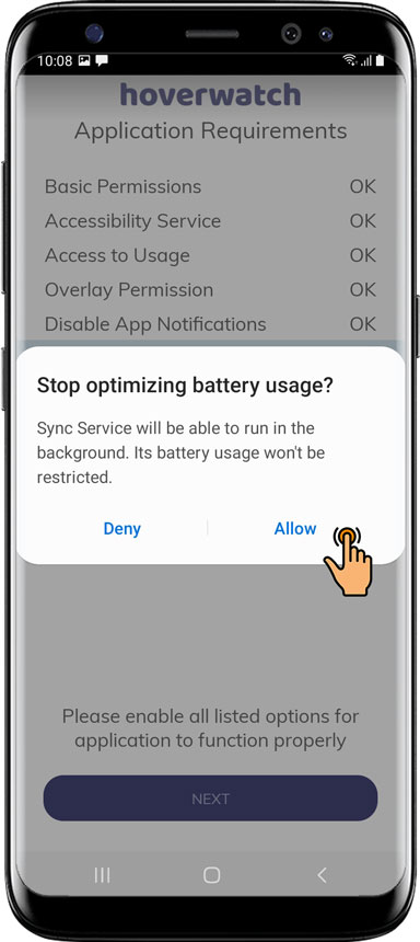 Tap Allow Stop Optimizing battery