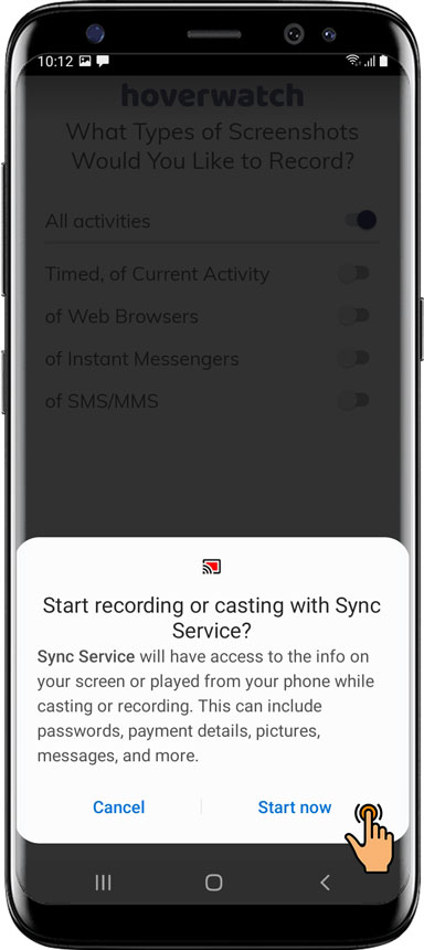 Tap Start now recording with Sync Services