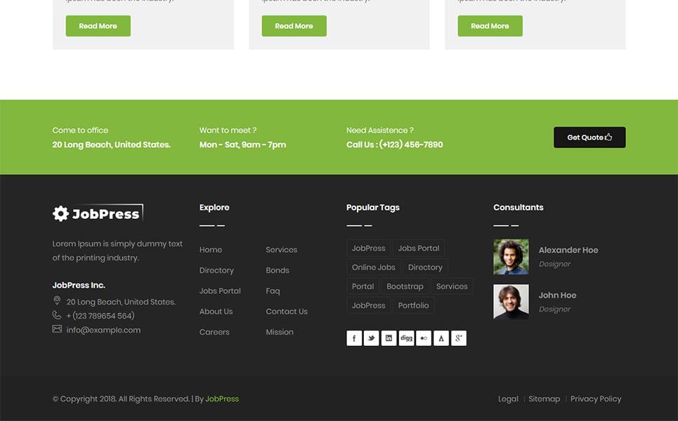 jobpress jobs directory listing website template. Black Bedroom Furniture Sets. Home Design Ideas
