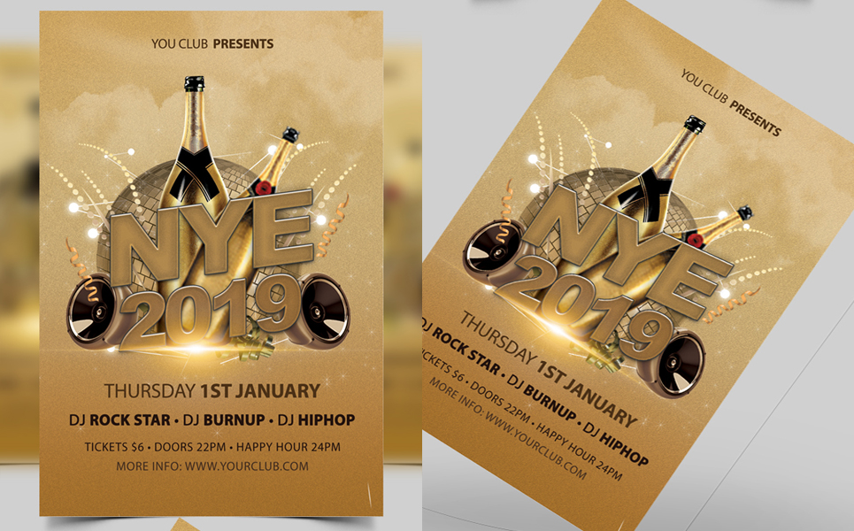 New Year Party Celebrations Flyer Template Corporate Identity