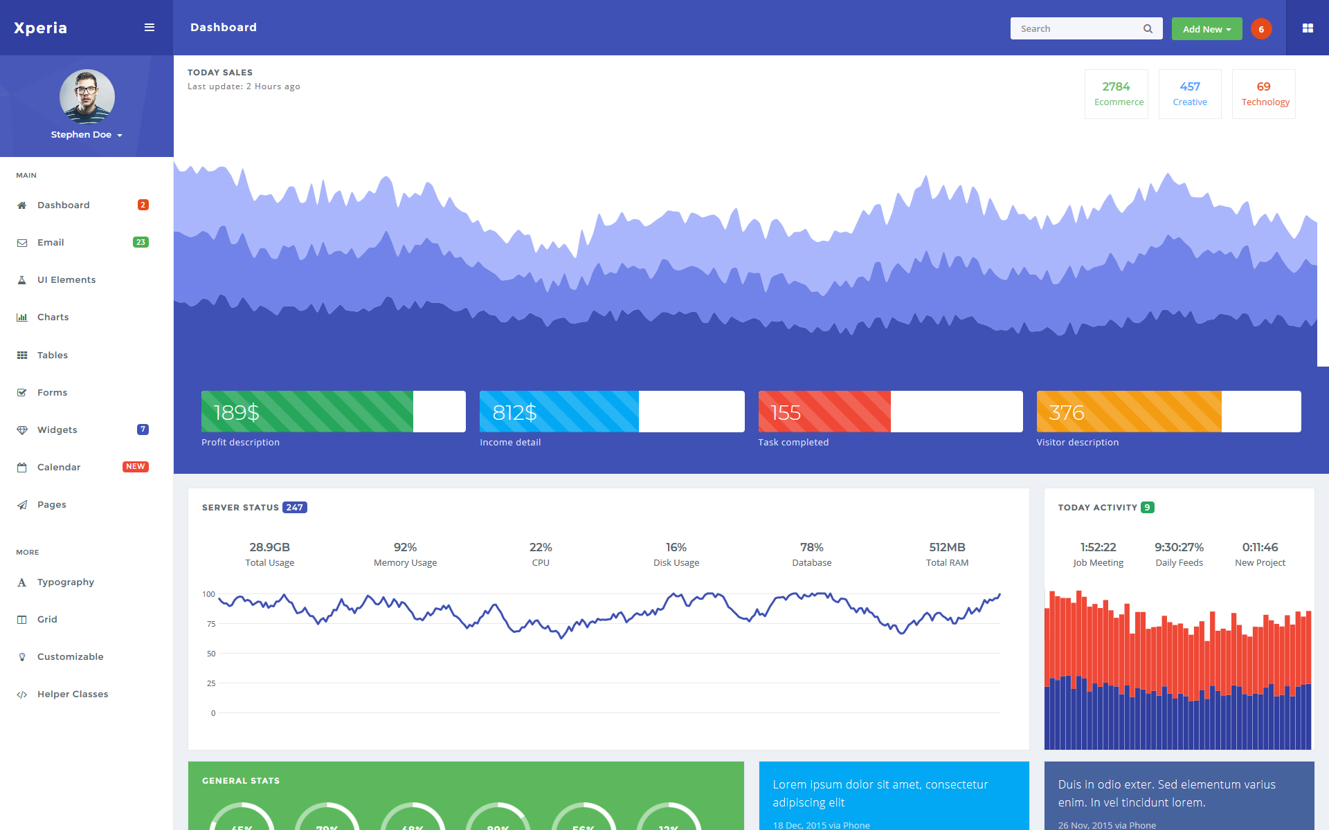Xperia - Bootstrap Dashboard Admin Template