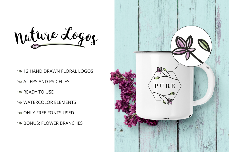 Nature & floral premade logos + BONUS Logo Template