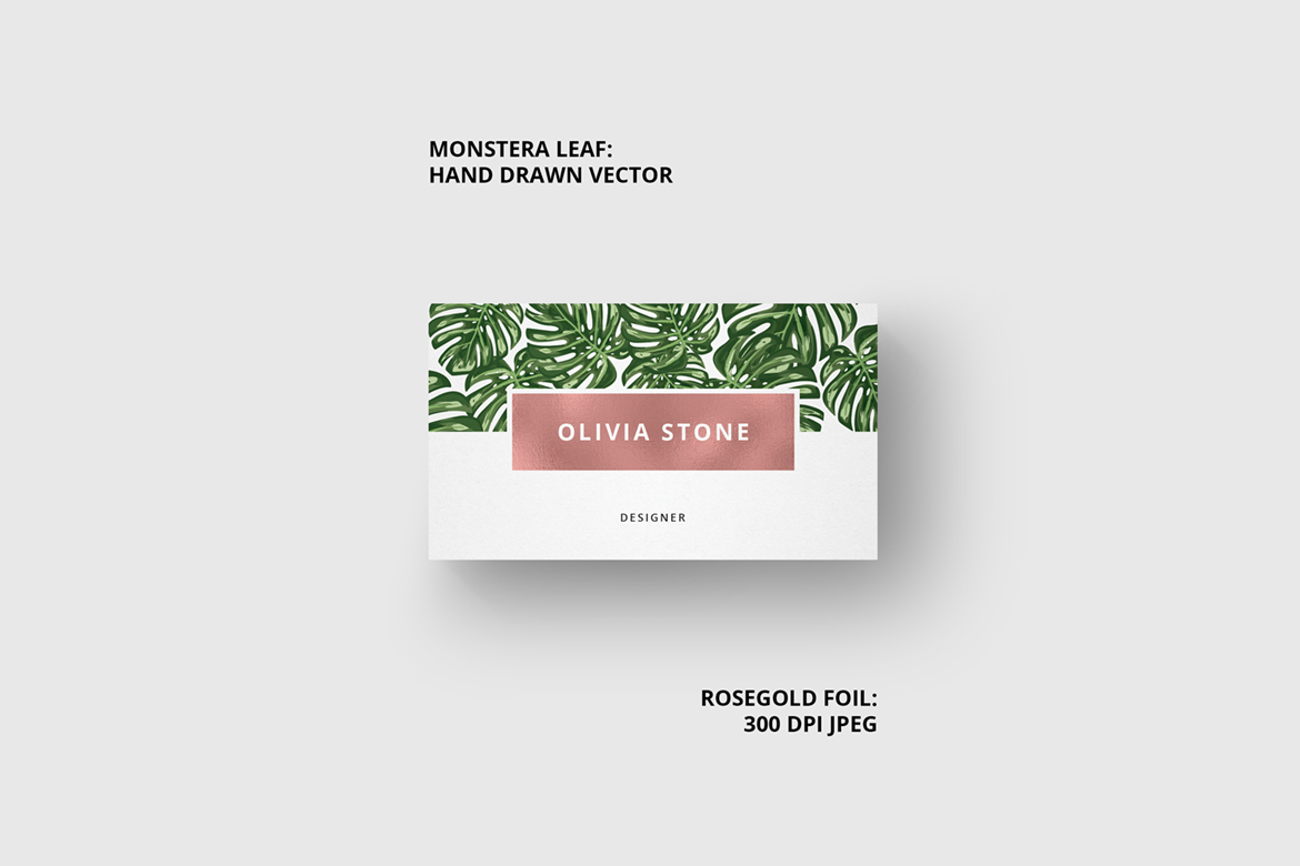 Monstera & Rosegold Business Card Corporate Identity