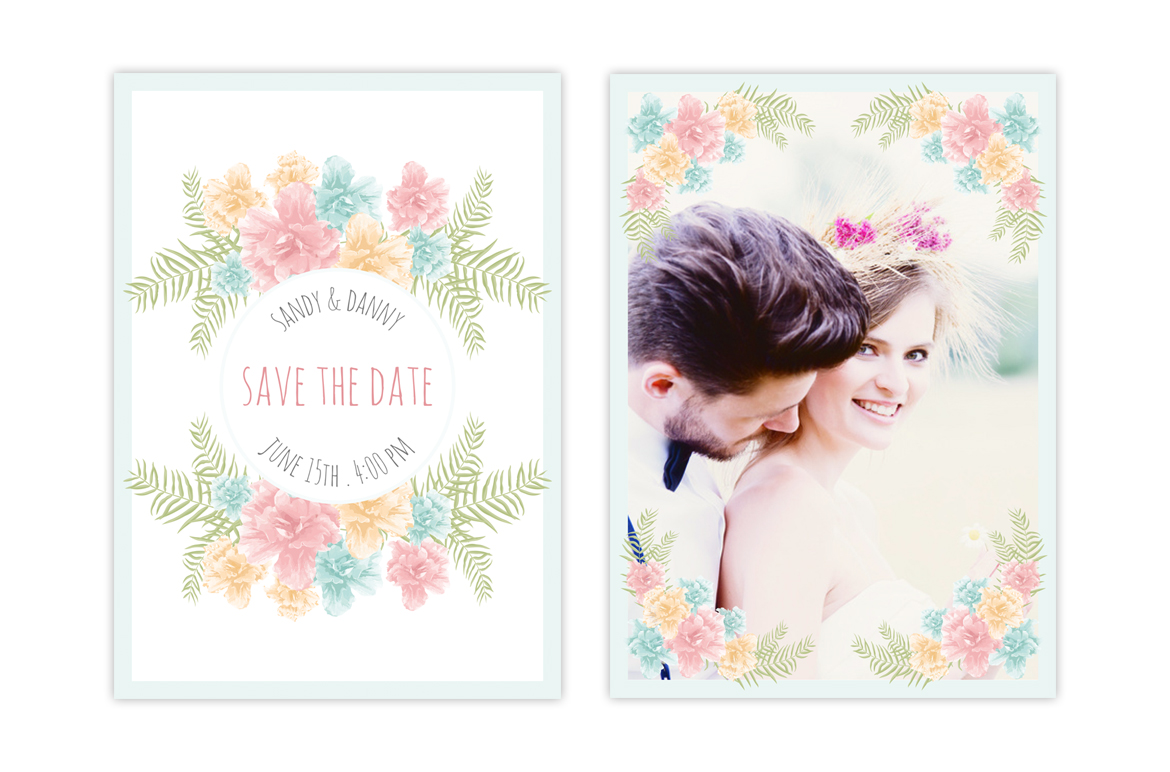Floral Wedding 13 Cards Set Corporate Identity