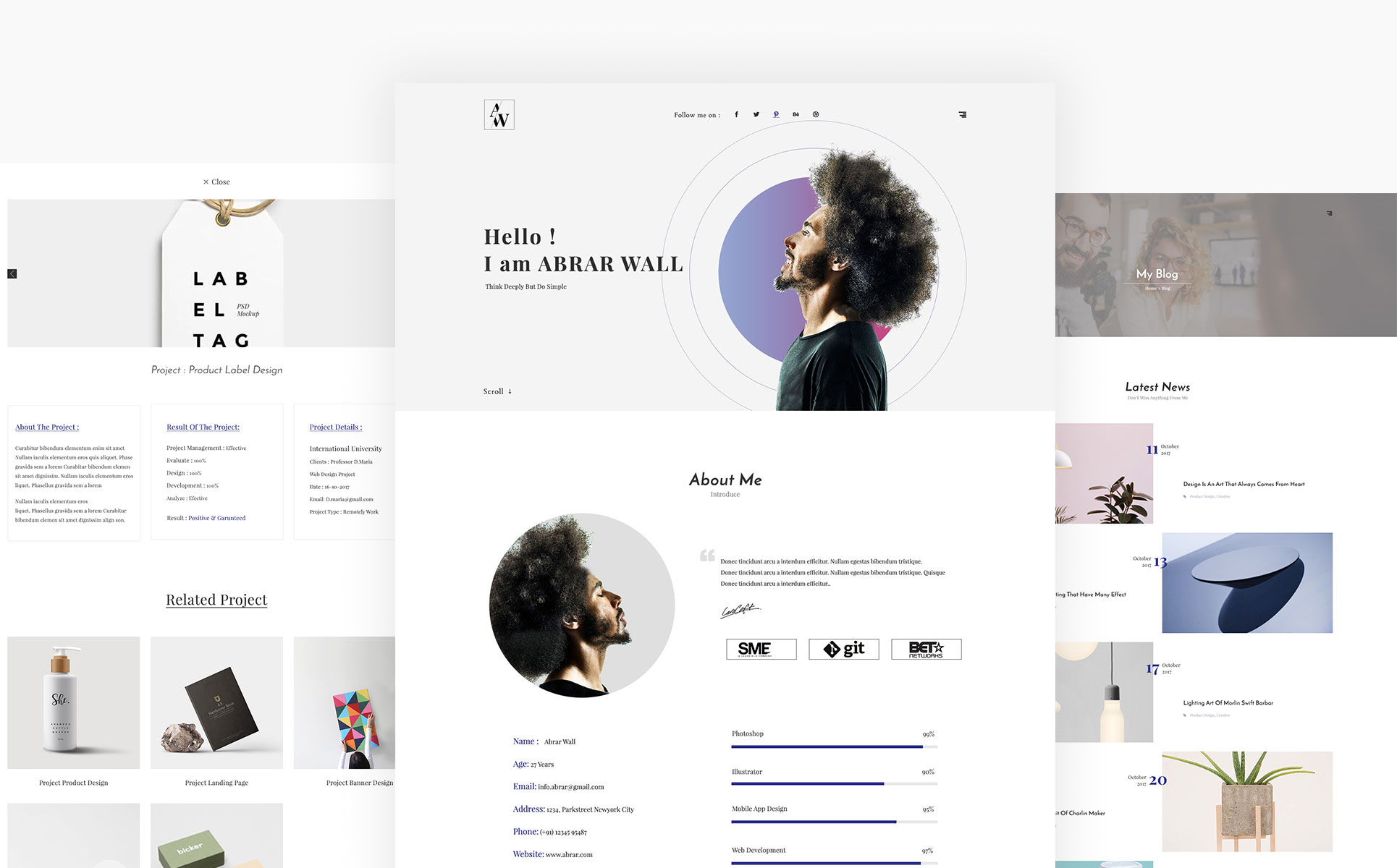 Abrar Wall - Resume HTML Landing Page Template