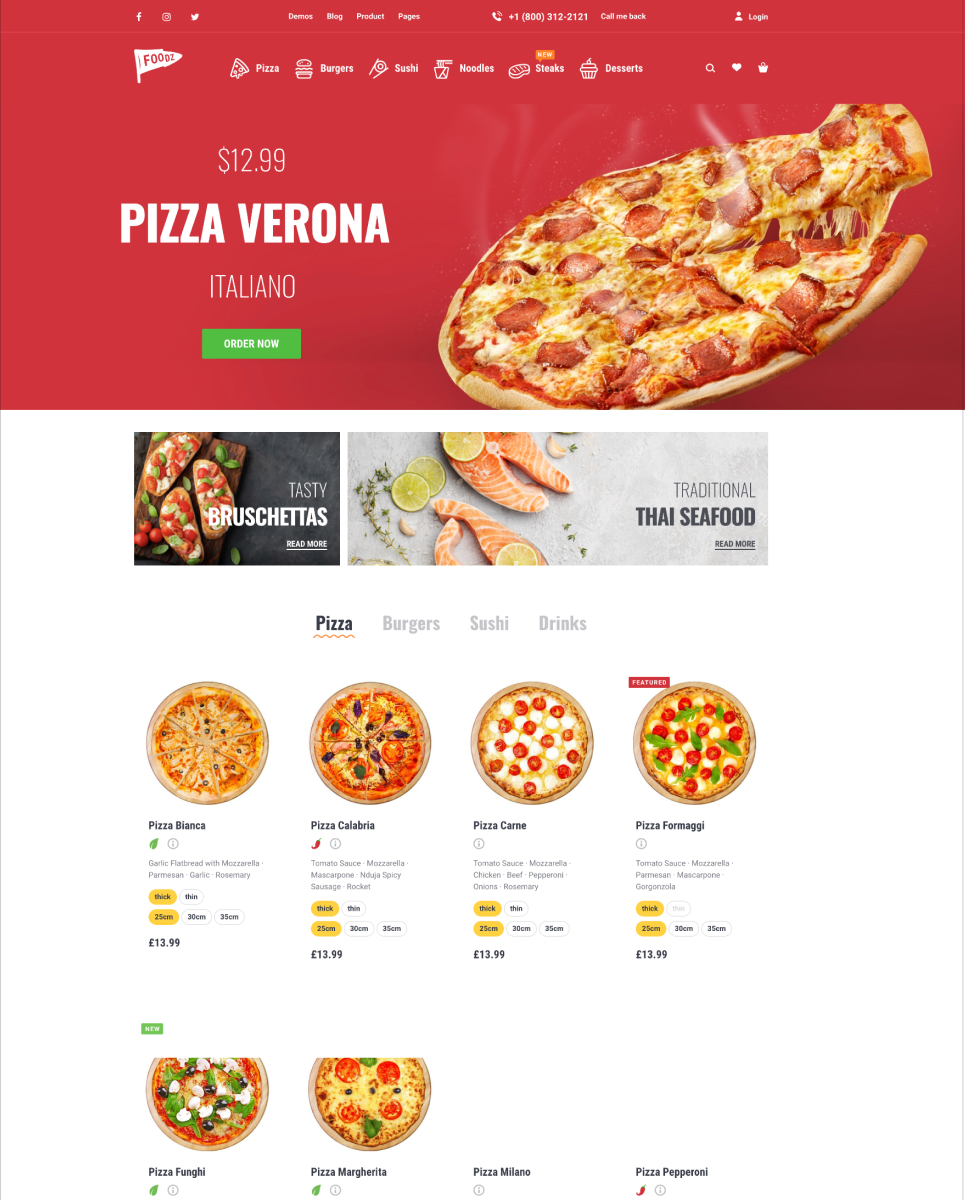 Foodz - Pizza, Sushi, Fast Food Delivery & Restaurant WooCommerce Theme