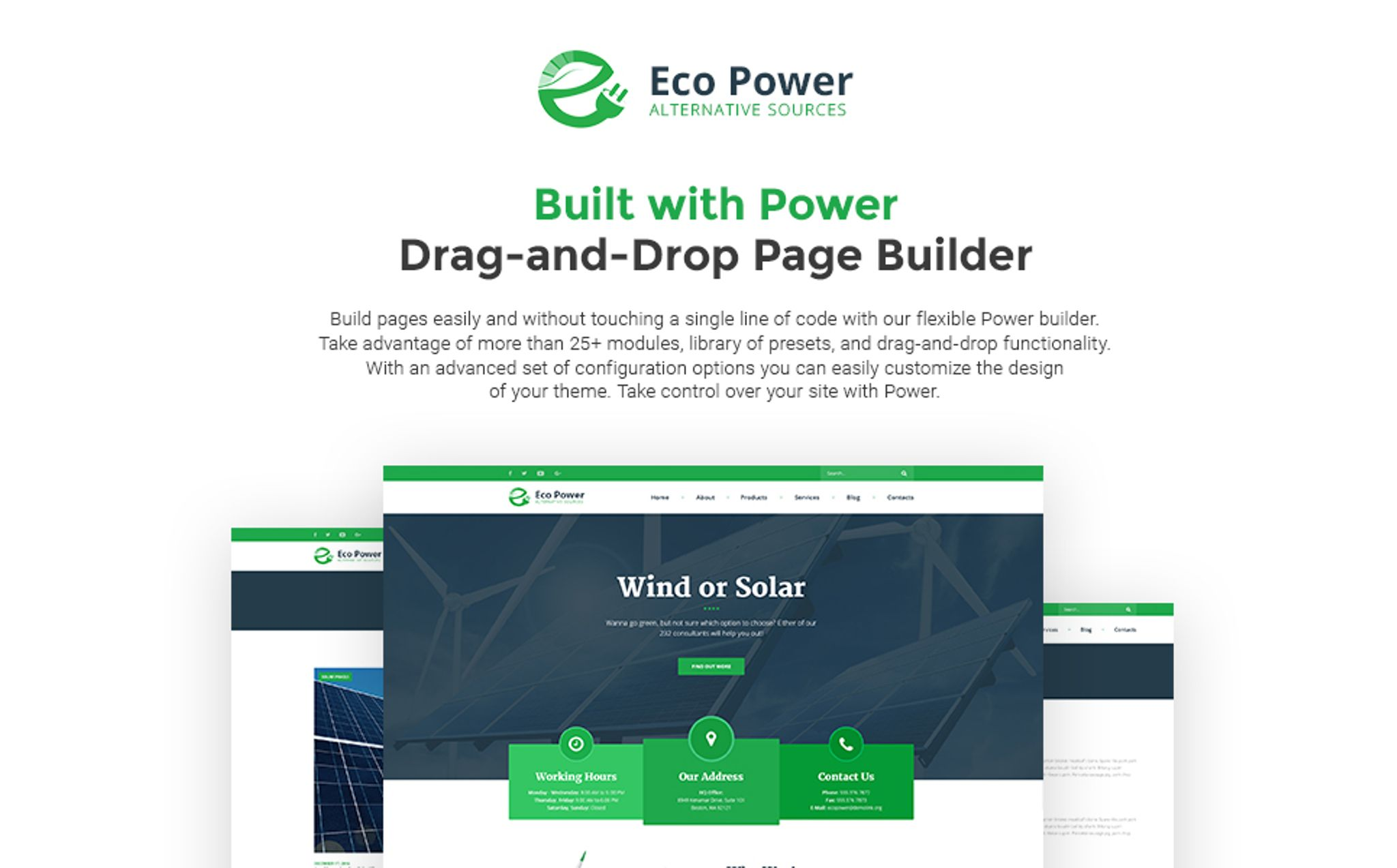 EcoPower - Alternative Power & Solar Energy WordPress Theme