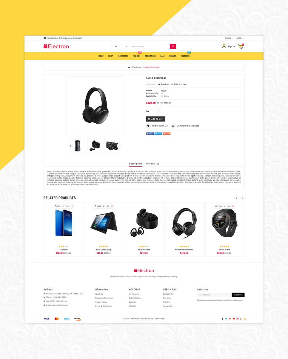 Electron - Electronics Mega Store OpenCart Template