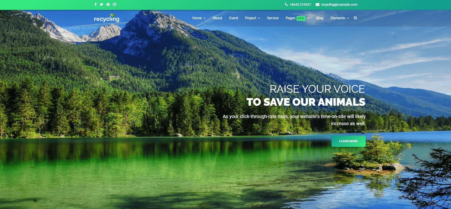 Recycling - Nonprofit / Environmental Joomla Template