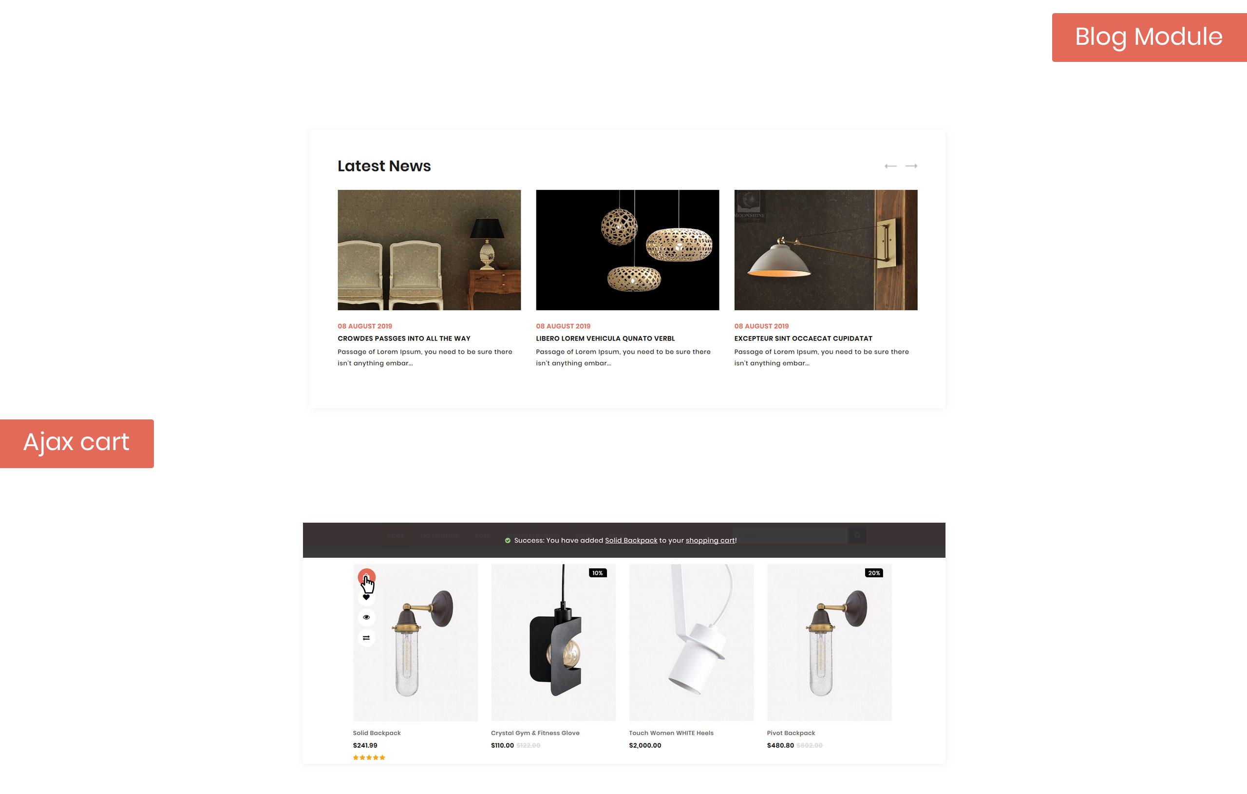 Hanging - Lighting Store OpenCart Template