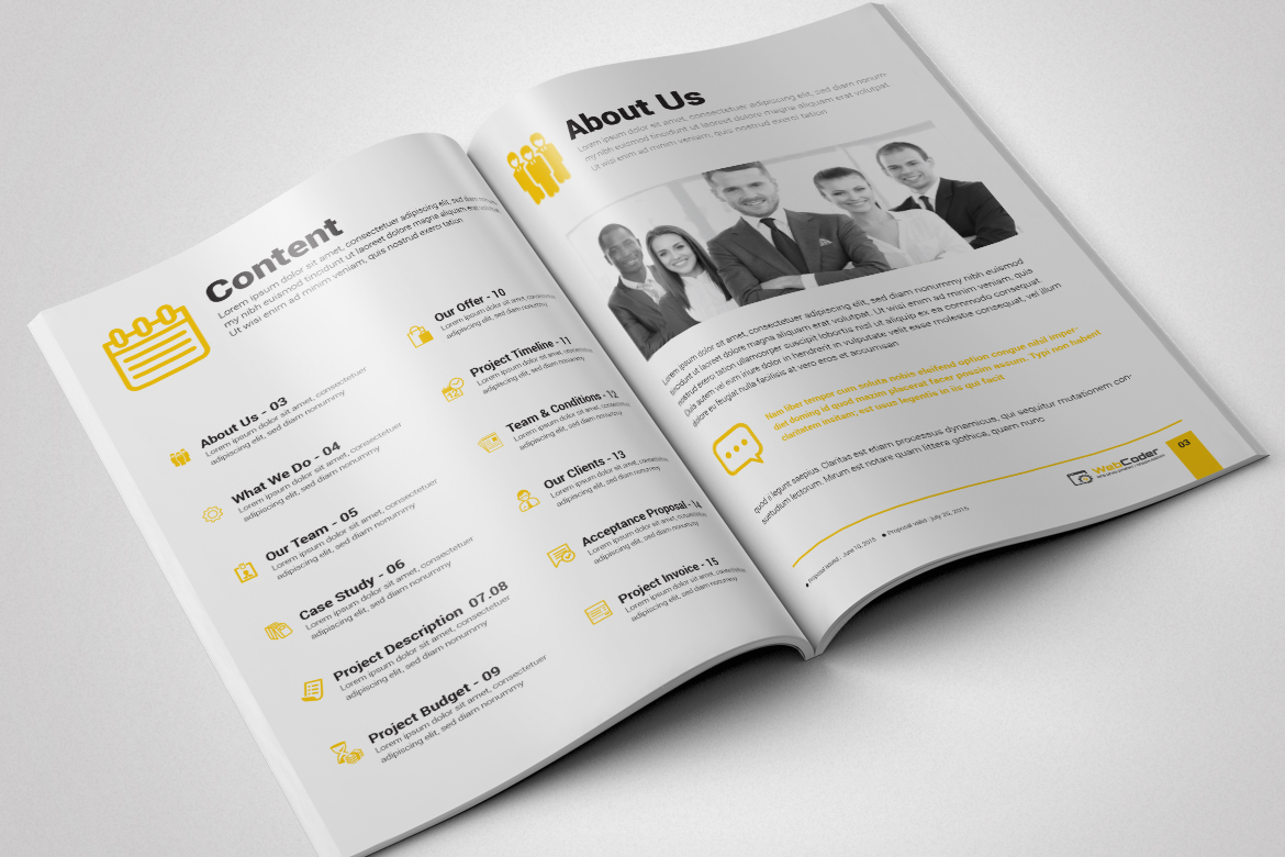 web proposal for web design and development agency corporate identity