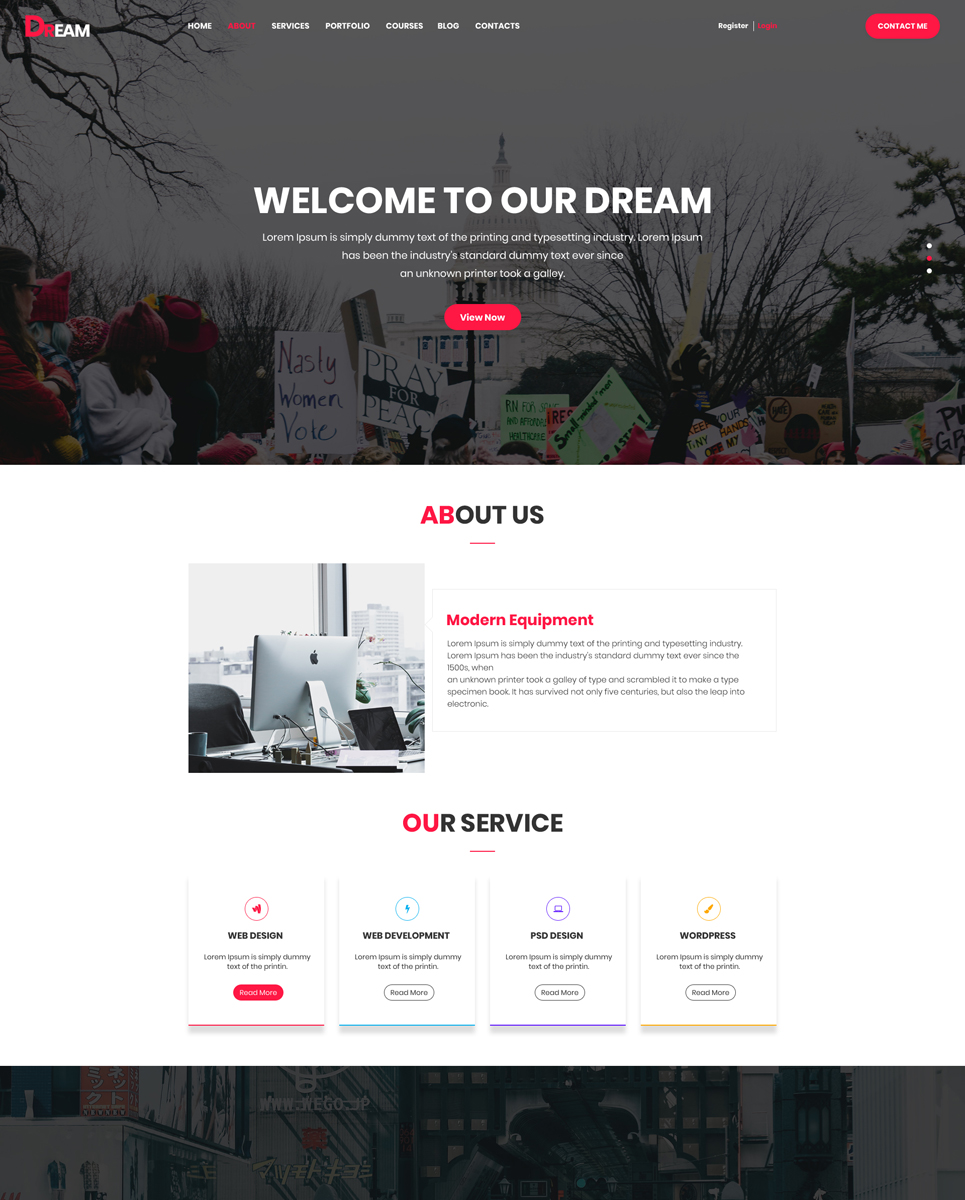 Dream One Page Business PSD Template