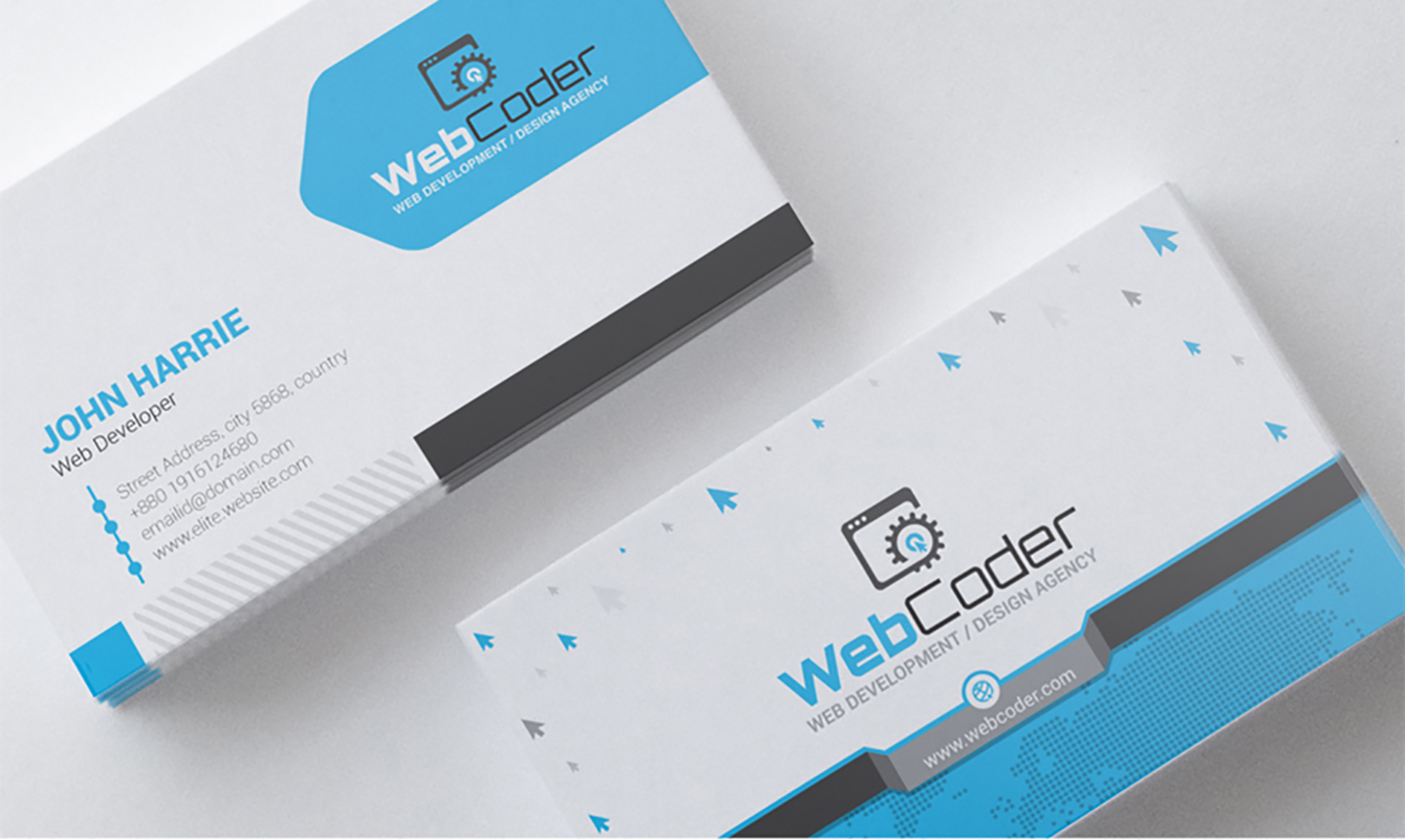 Template 21 : Business Card Design For Web Design And Developer With Regard To Web Design Business Cards Templates