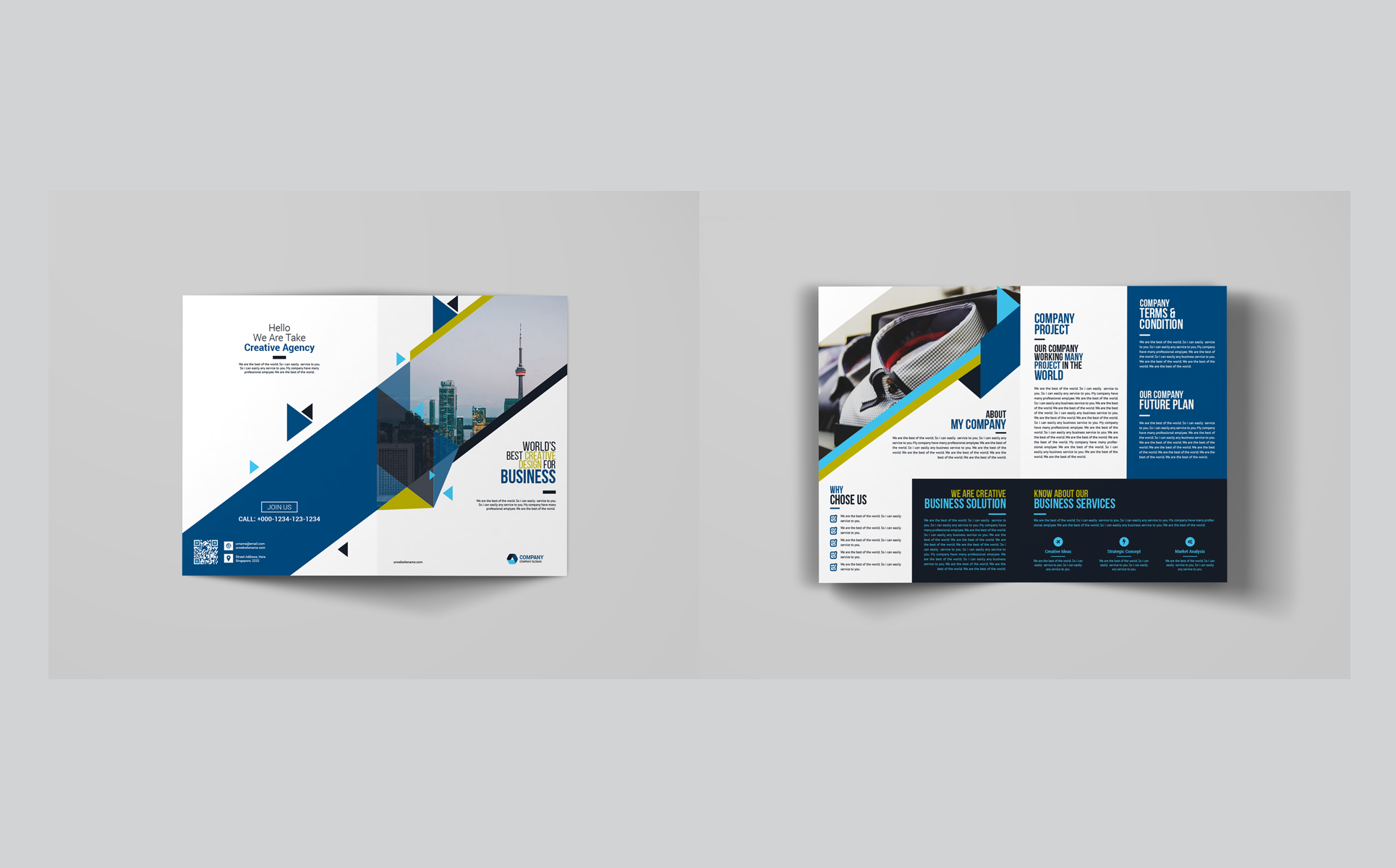 Business Bi-Fold Brochure Corporate Identity