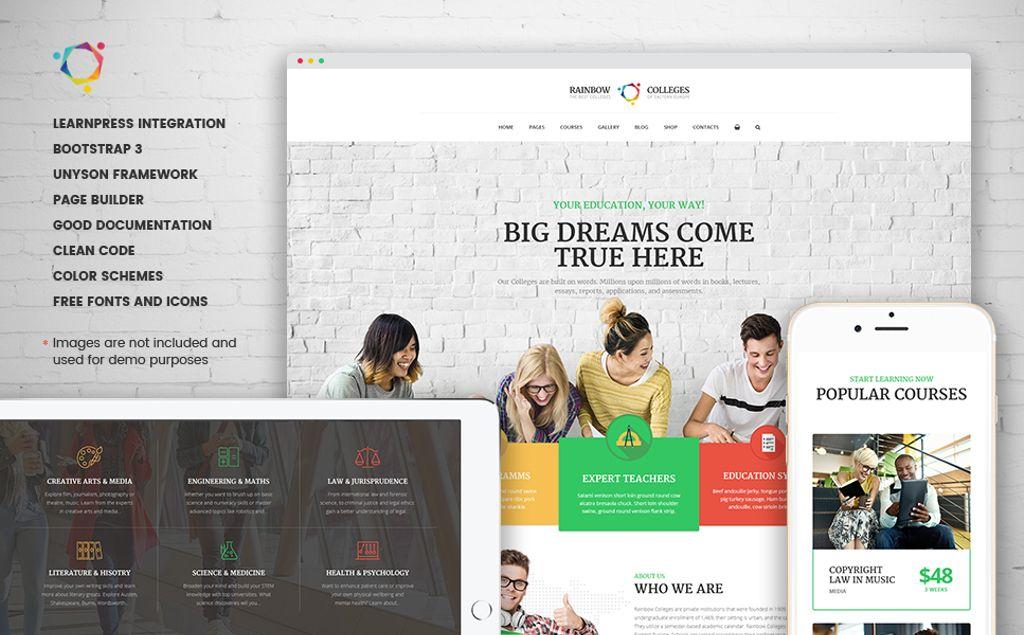Rainbow Colleges - E-Course WordPress Theme