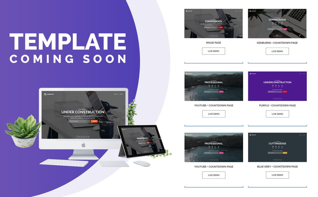 Creative Coming Soon Specialty Pages