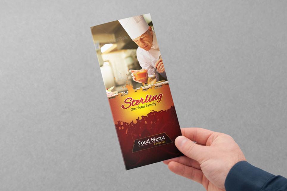 Tri-Fold Food Menu PSD Corporate Identity
