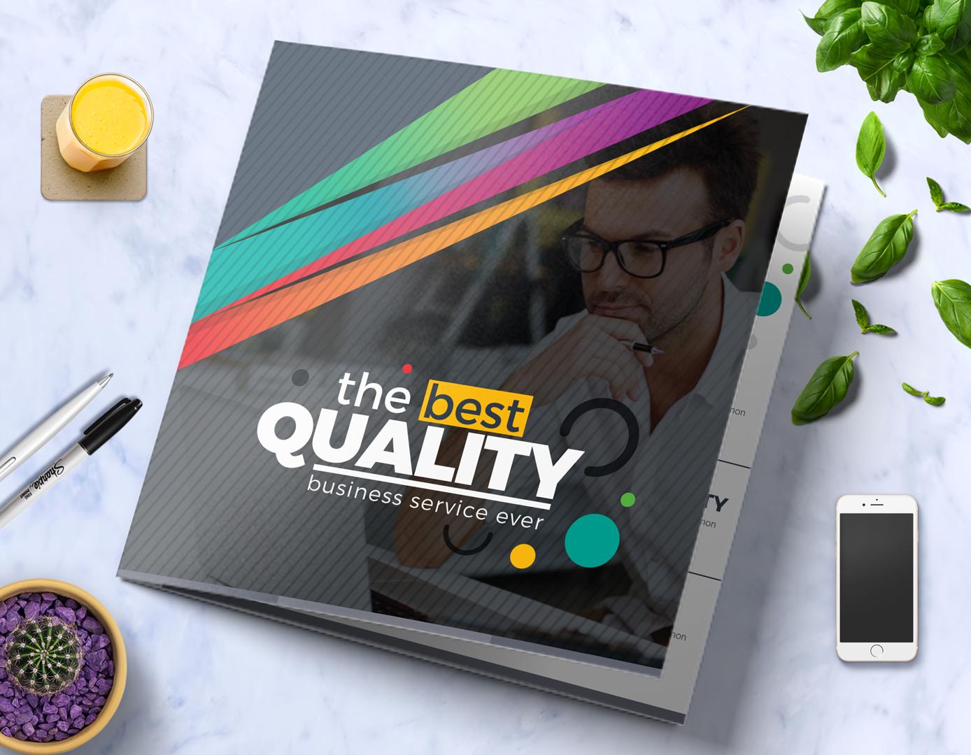 Tri-Fold Brochure Design Template : Square and Tall Version Corporate Identity