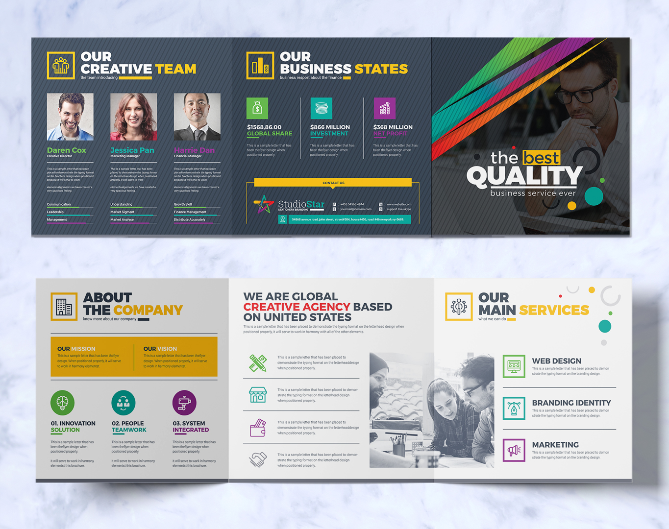 tri fold brochure design template square and tall version