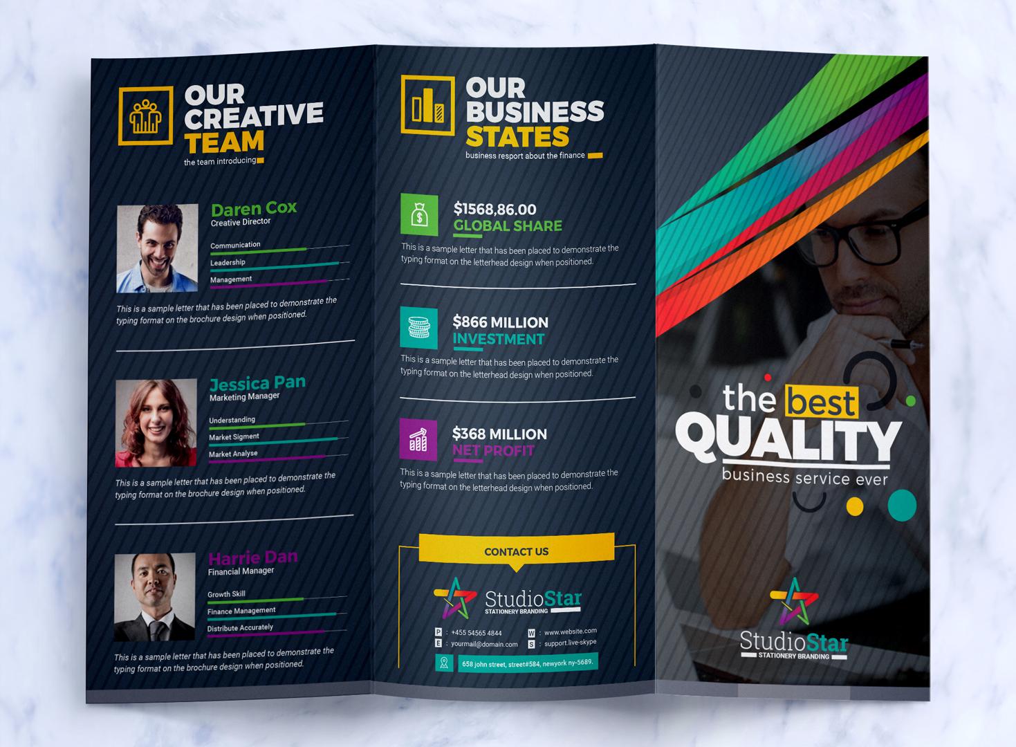 tri fold brochure design template square and tall version
