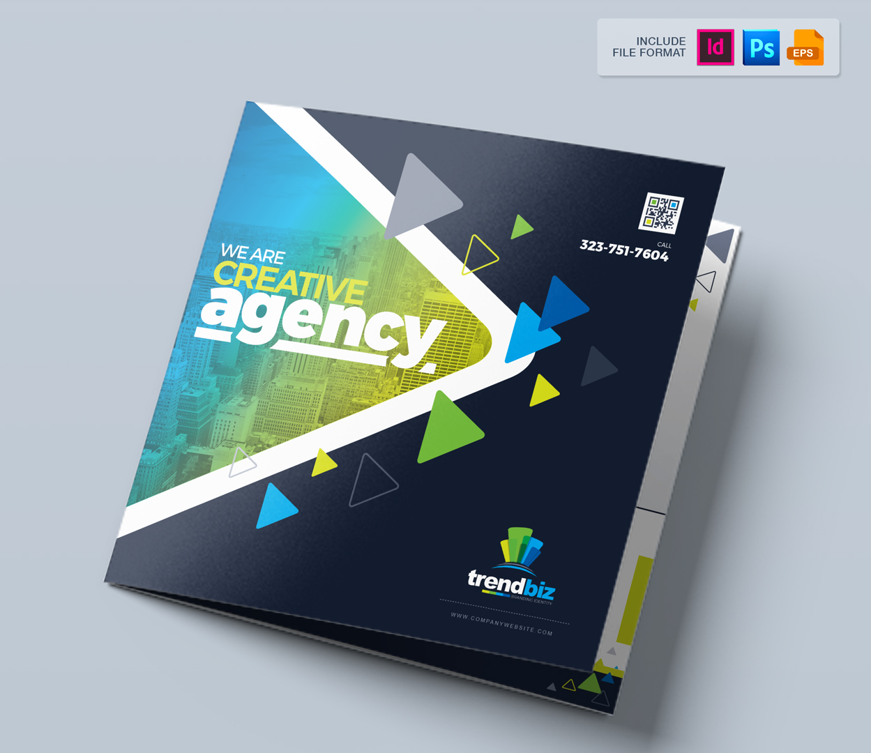 Square and Tall Tri-Fold Brochure | InDesign, PSD and EPS File Formats Corporate Identity