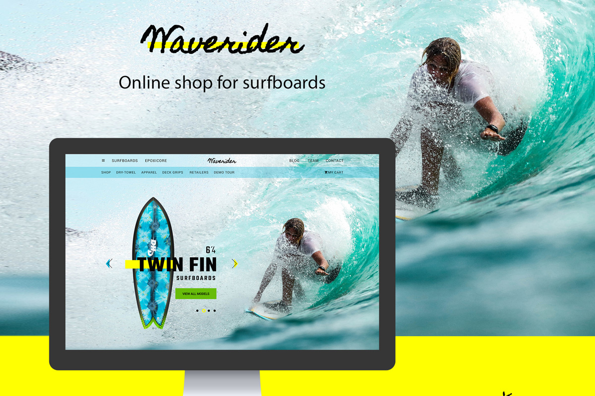 Online shop for surfing PSD Template