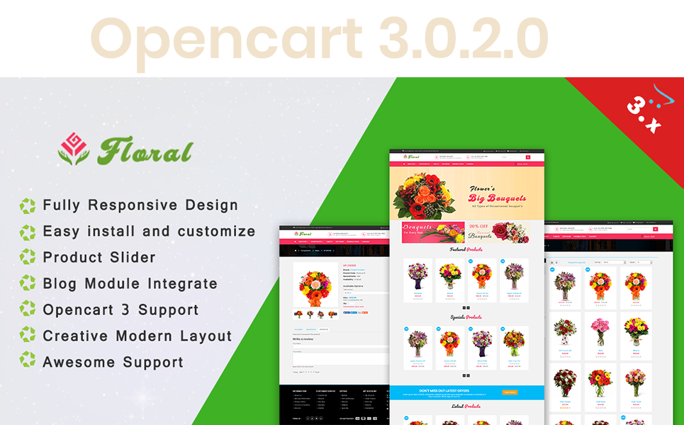 Floral - Responsive  3.x OpenCart Template