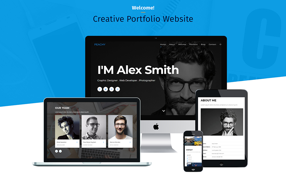Peachy - Material One Page Portfolio Landing Page Template