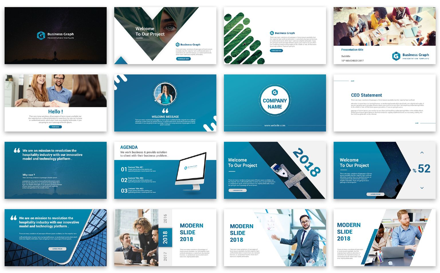 Business Graph Presentation PowerPoint Template