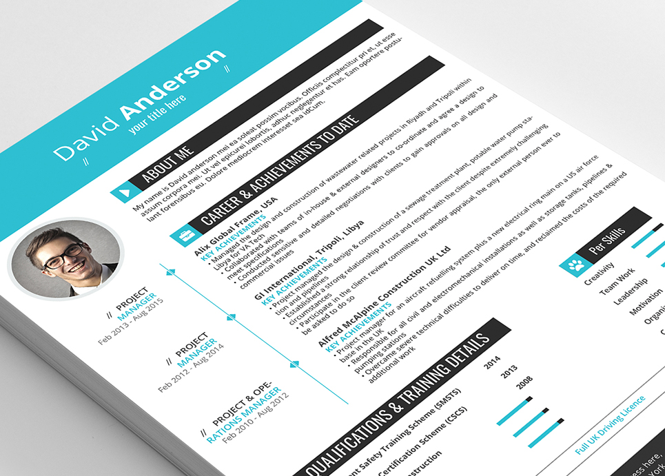 David Anderson CV - Professional MS Word Format Resume Template