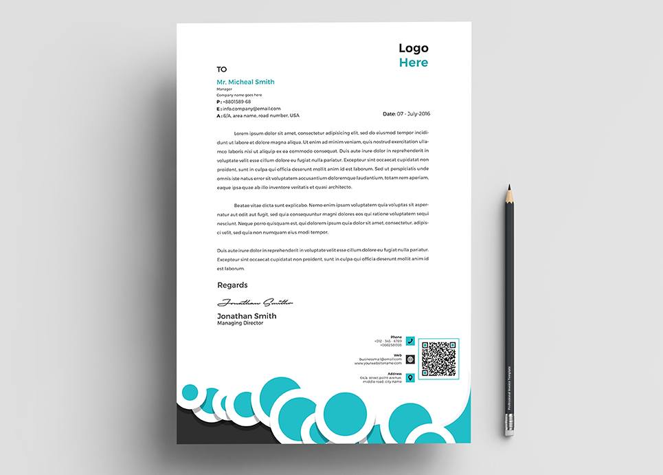 Business Letterhead Word Pages Corporate Identity