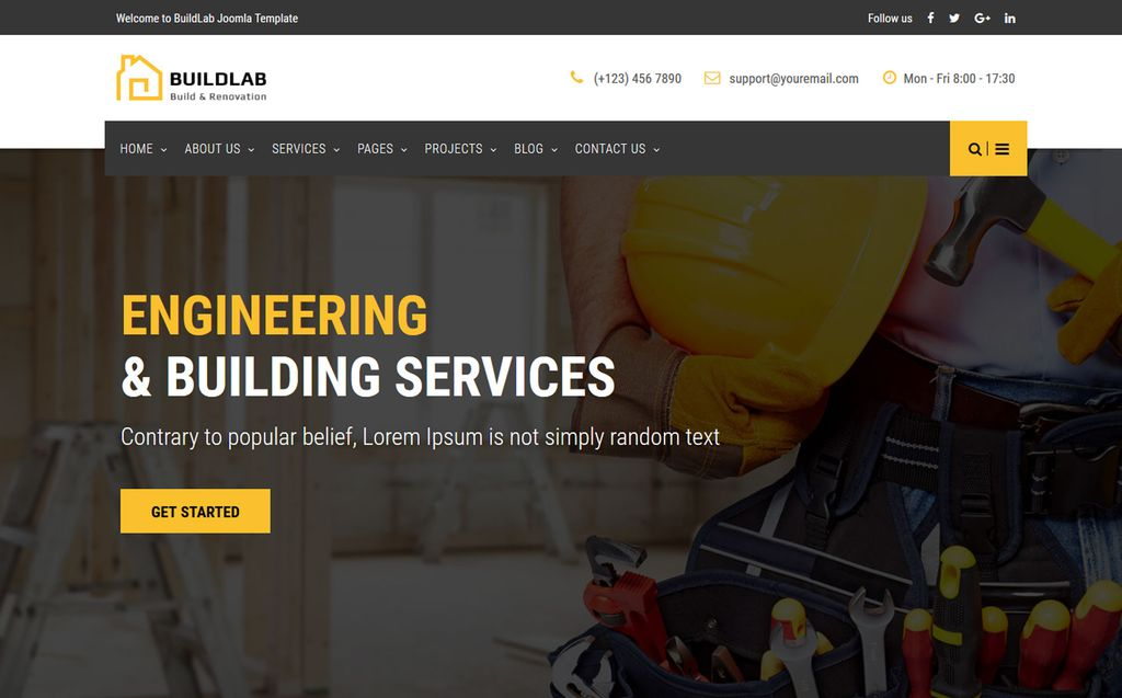 BuildLab - Building Construction & Renovation Joomla Template