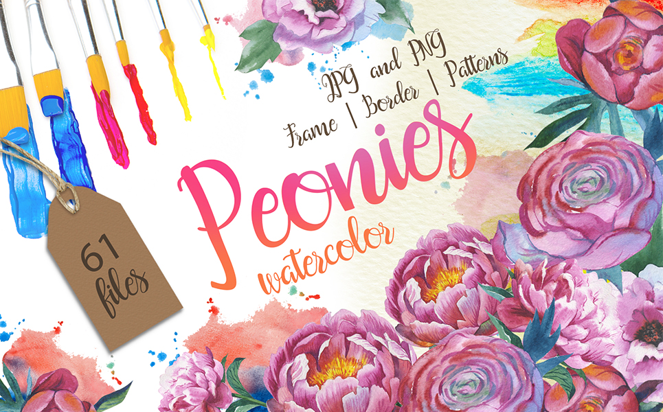 Colorful Peonies JPG Watercolor Flower Illustrations